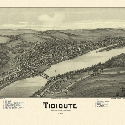 Vintage Map of Tidioute Pennsylvania 1896 Warren County Poster Print (24 x 36)