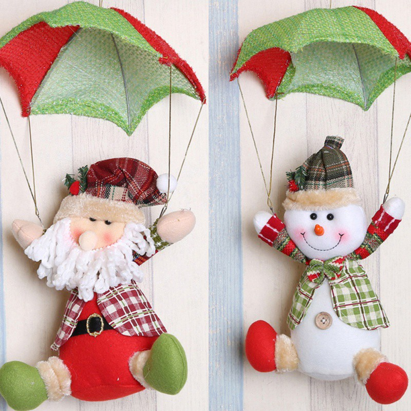 party diy Christmas Doll Parachute Cartoon Fabric Santa Claus Snowman Christmas Decoration Pendant Gift Home Party Decora