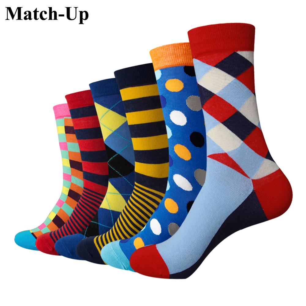6 Pairs/lot Relieving Rheumatism Adroit Match-up Dropshipping Customized Order Men Colorful Combed Cotton Wedding Gift Socks