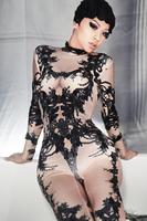 Female Singer Dance Costume Outfit Black Sequins Stretch Bodysuit Stage Performance Party Performance Dance Clothing