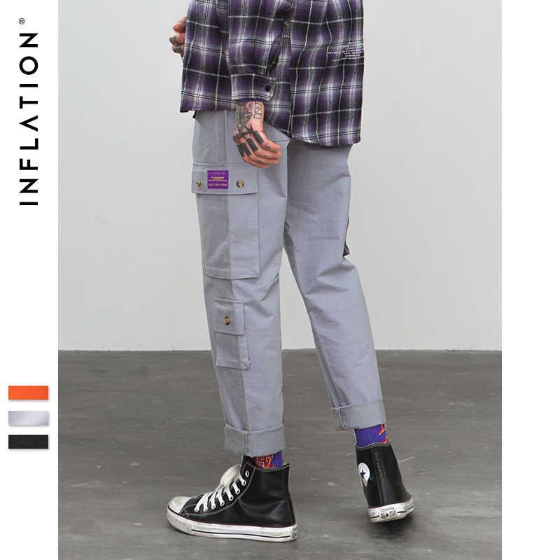 Pantalones de carga de calle de inflado 2018 bolsillos de Hip Hop holgados Harem Jogger pantalones casuales de hombre Casual Streetwear pantalones 8864W
