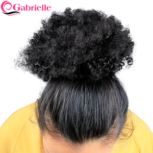 Image 3 - Gabrielle 4B 4C Brazilian Afro Kinky Curly Hair Drawstring Ponytail 8 inch Clip in Human Hair Natural Color Remy Hair Extensions