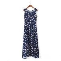 New Summer Europe Elastic Knitted Slim Dress Bird Print Casual Loose Sleeveless Women Long Maxi Dress