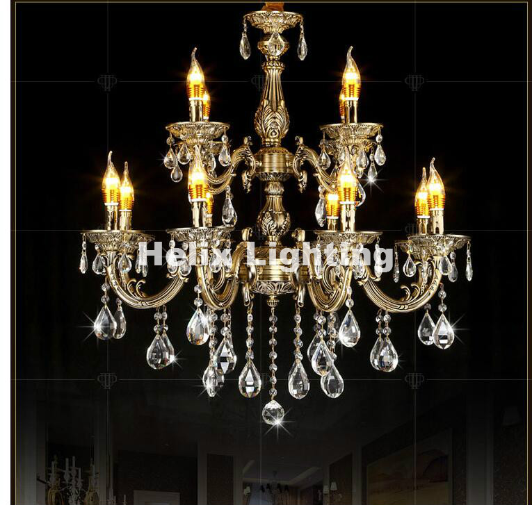 Free Shipping Zinc Alloy Antique Brass Crystal Chandelier Lingting  Luxurious E14 LED AC Crystal Lamp Lustre - Compare Prices On Brass Antique Chandelier- Online Shopping/Buy