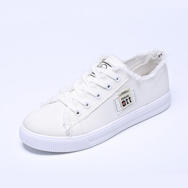 aa2c228e027871 Sport Shoes Canvas Shoes For Women Autumn Flat Heel Casual Denim Fabric  White Shoes Lace Up Breathable Fashion Korean Sneakers