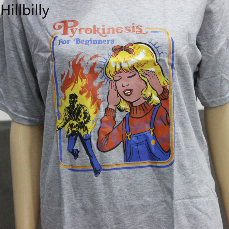 c1787e7f994 US $7.99 |Hillbilly Cute Graphic Tee Pyrokinesis for Beginners Street Wear  Fashion Summer Outfits Gray Women Retro Ringer 80s Tees T Shirt-in T-Shirts  ...