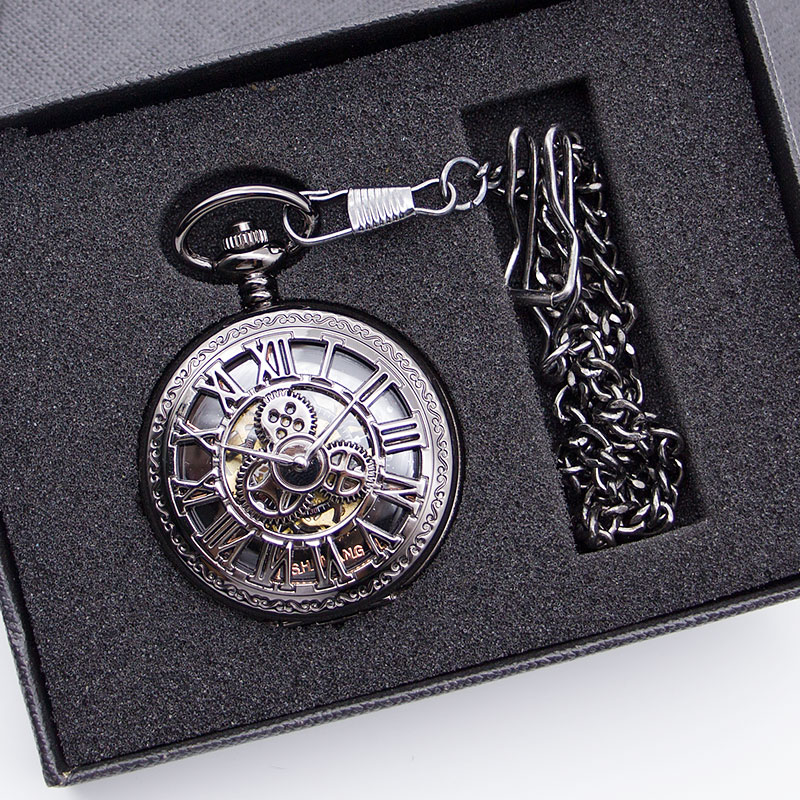 Unisex Steampunk Pocket Watch Mechanical Pocket Watch Clock Necklace Pendent Retro Skeleton Vintage Pocket Fob Watch With Chain