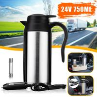 750ml 24V Car Heating Cup Electric Kettle Pot Camping Travel Trip Coffee Tea Water Heated Mug Boiling