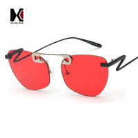 SHAUNA Unique Pin Sharp Bridge Women Rimless Cat Eye Sunglasses Fashion Men Transparent Red Lens Shades