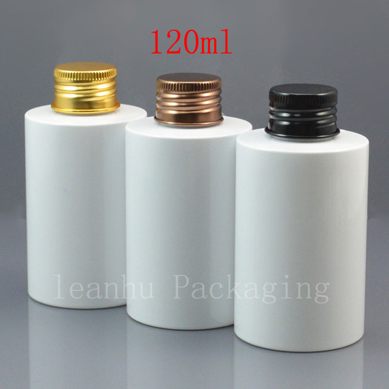120ml x 50 empty white PET cosmetic bottle with gold bronze black aluminum screw cap 120cc