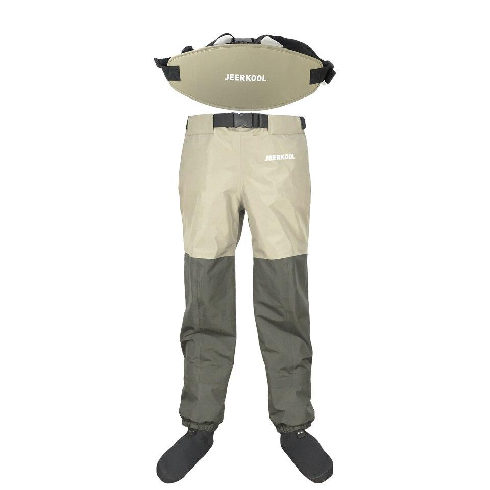 Pantalons de pêche à la mouche en plein air taille pantalon avec ceinture imperméable respirant poitrine chasse Wading pantalon ceinture vêtements pour chaussure