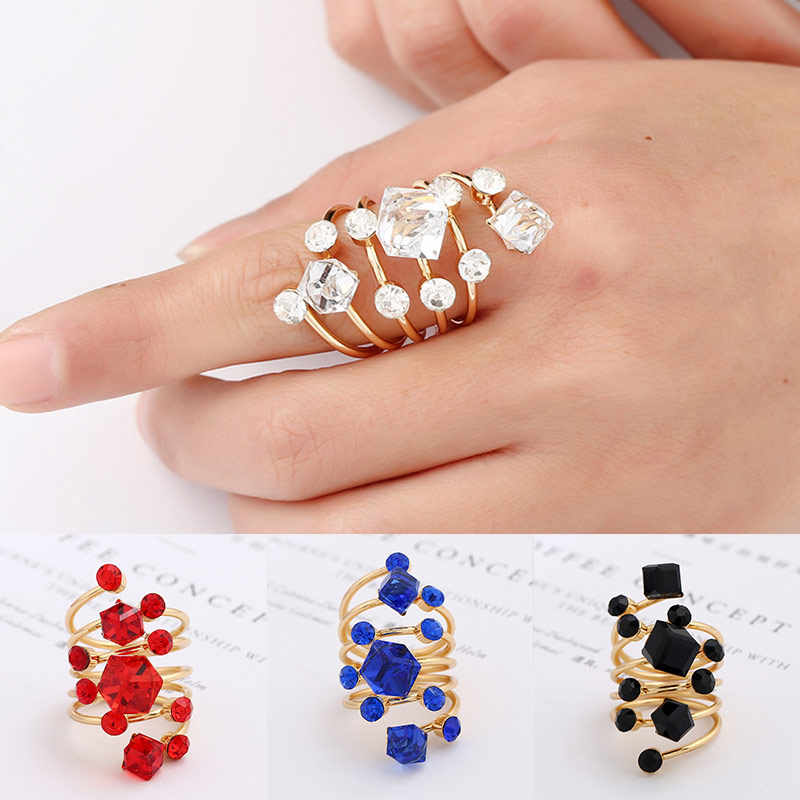 Women Exquesite Black Punk Crystal 1PC Open Unique Knuckle Finger Midi Rings Opening Gold Rhinestone Adjustable Rings