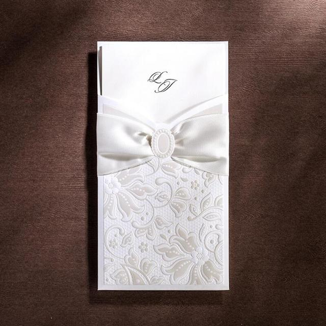50pcspack Europe Elegant White Wedding Invitations Cards with