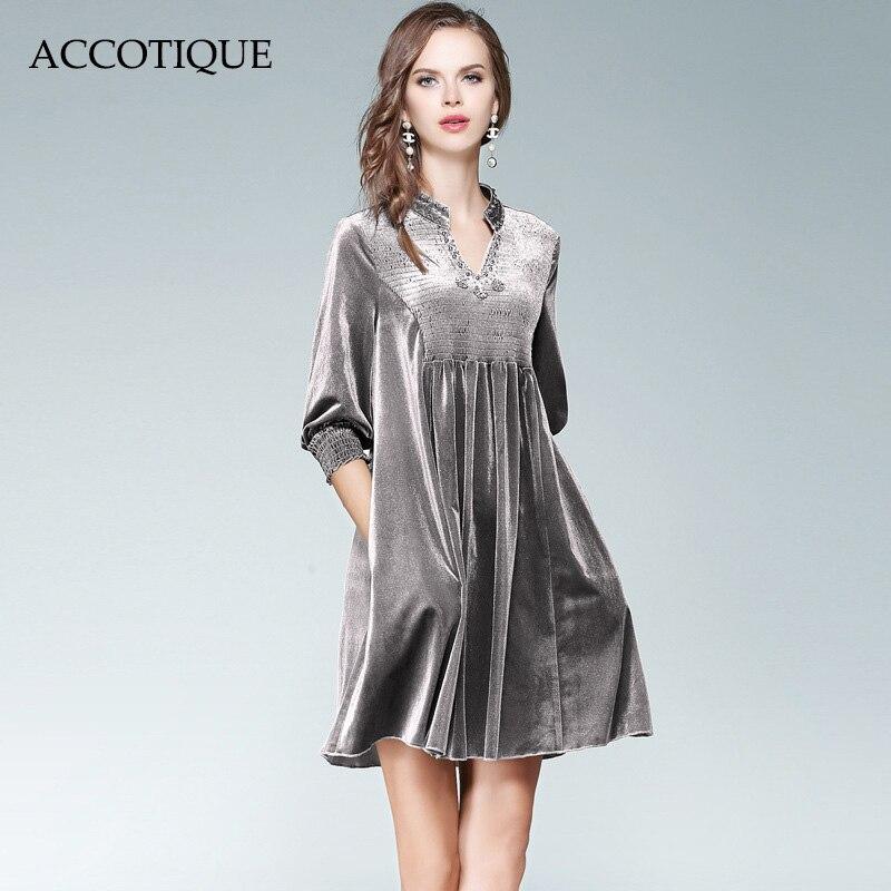 Free Shipping New Autumn Women s Bead Diamond Grey V Neck Dress Female Fashion Slim A