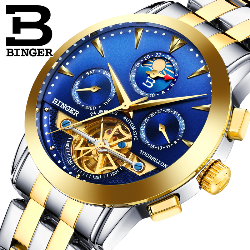 Classic Tourbillon Men Automatci Watches Self Winding Full Steel Wrist watch Multi Functional Calendar Businessmen Dress WatchClassic Tourbillon Men Automatci Watches Self Winding Full Steel Wrist watch Multi Functional Calendar Businessmen Dress Watch