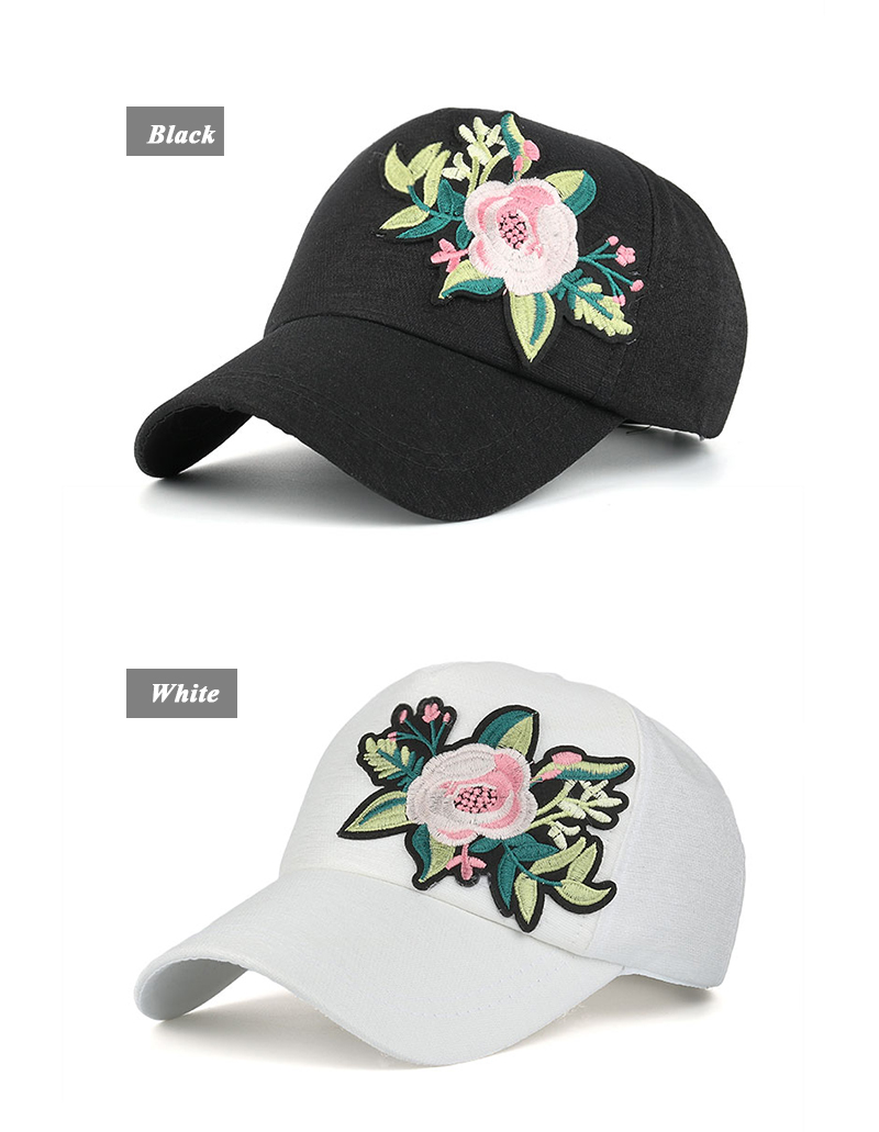 Embroidered Flower Snapback Cap - Black Cap and White Cap