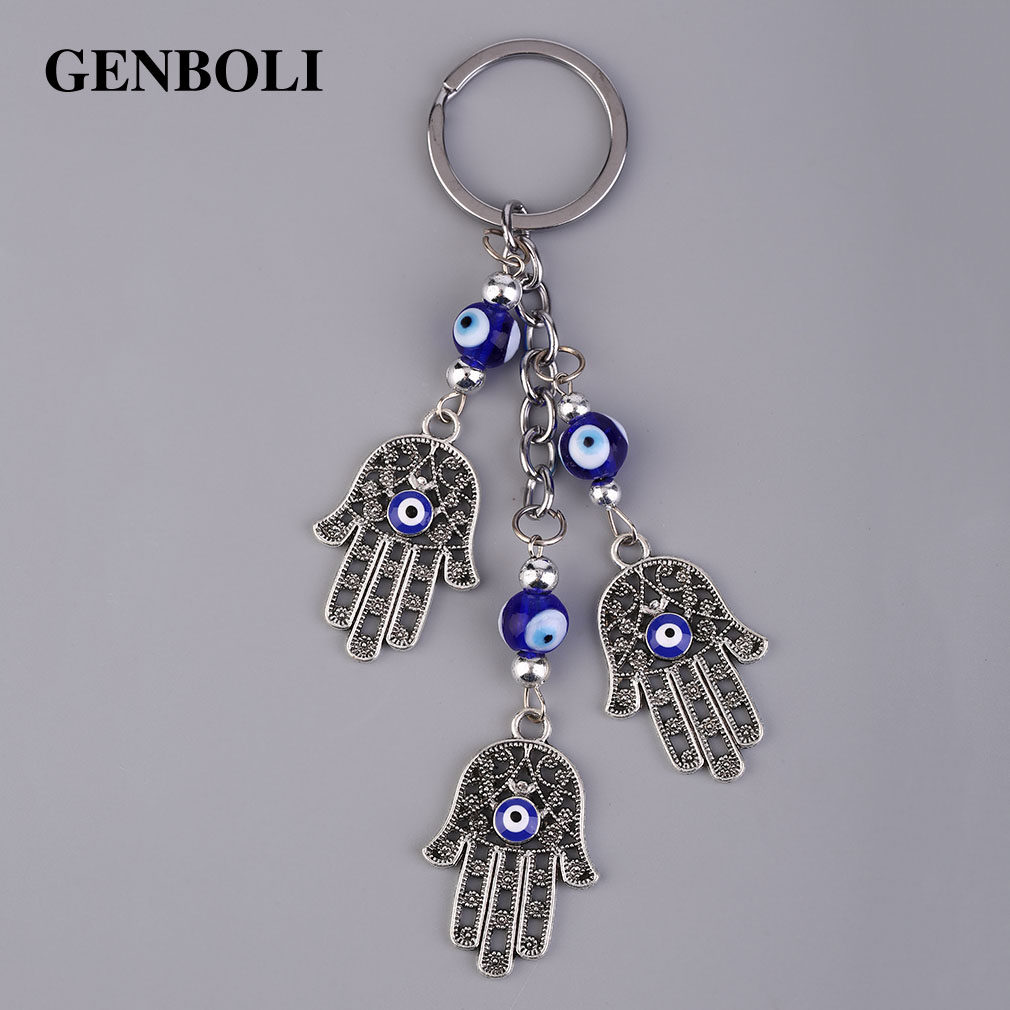 GENBOLI Fashionable Turkey Blue Eyes Keychain Ring Creative Design Men Women Key Chain For Bag Car Accessories Fashion Jewelry