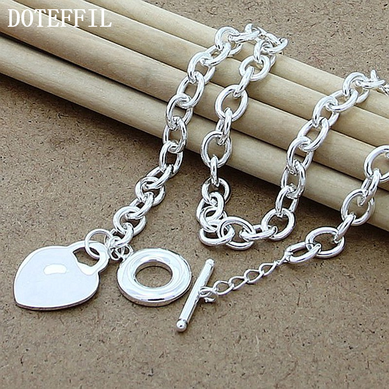 Luxury Brand 925 Sterling Silver Heart Charm Necklace Woman Man Necklace Fine Jewelry Necklace Wholesale Free Shipping