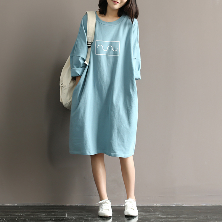 Japanese Harajuku Mori Girl Casual Bat Sleeve Loose Print Knitted Cotton Soft White Blue Spring Vestidos
