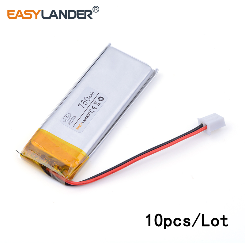 10pcs /Lot XH2.54 750mAh 801558 lithium Li ion polymer rechargeable battery point reading pen Bluetooth computer pack medical