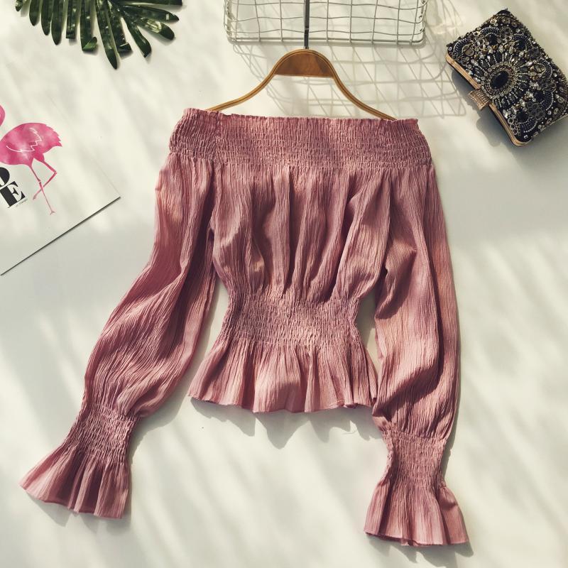 2019 spring new women pure color slash neck elasticity waist lantern sleeve blouses shirt female elegant sweet slim shirts tops 3