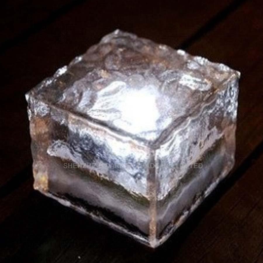 24pcs/lot IP55 Ice Shape Solar Light Glass <font><b>Brick</b></font> Light Ice Glass <font><b>Brick</b></font> <font><b>LED</b></font> Splar Light Garden Solar Lamp