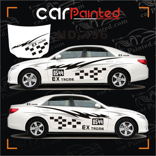 Personalized car sticker checkered flag auto garland alphabet entire vehicle stickers lightning cloud
