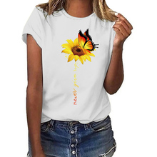 Aesthetic Cotton t shirt women Harajuku Graphic Tees femme Sun Flower butterfly white Women's T-shirt Never give up Tshirt