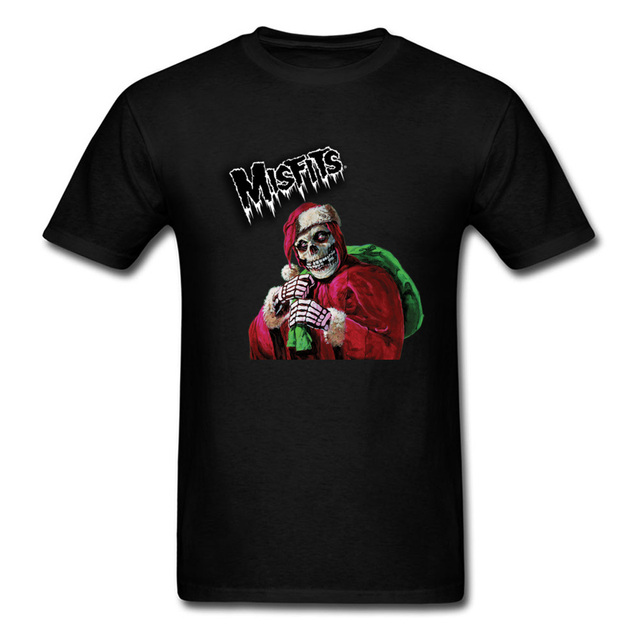 misfit 2018 halloween christmas black t shirt for men skull santa claus print male unique - Misfits Christmas Sweater