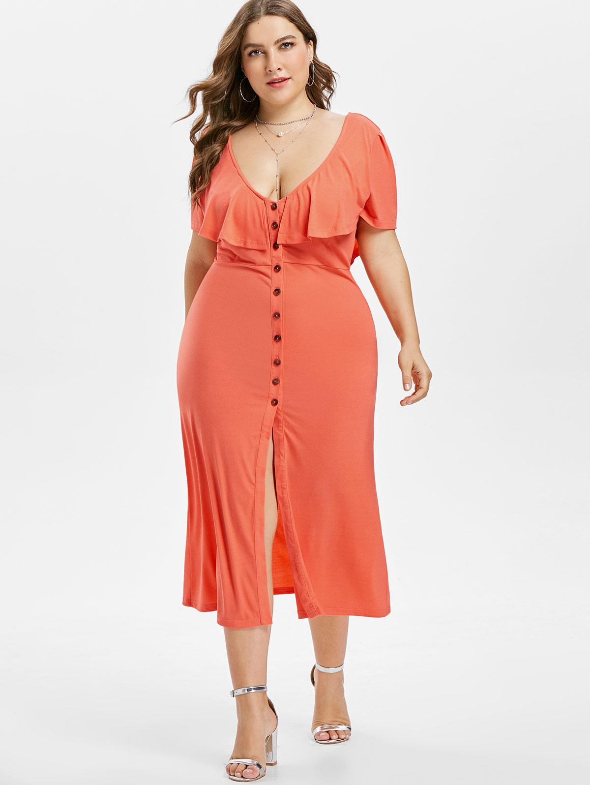 6650fab633 Wipalo Plus Size 5XL Elegant Casual Front Slit Low Cut Dress V Neck Ruffle  Criss Cross Button Dress High Waist Dress Vestidos-in Dresses from Women s  ...