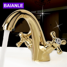 Golden Brass Double handle Bathroom Basin Faucet,Hot And Cold Water Sink Faucet Bath Accessories azos split faucetsoft basin brass orb cold and hot switch rotatable bathroom below counter basin balcony double handle three hol