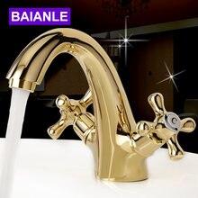 Baianle смеситель для раковины в ванную комнату золотые латунные