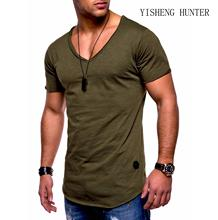 2019 New  pattern short sleeve V neck men T-shirt Slim Fit t-shirt Skinny casual summer