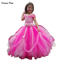 0-14Y Flor Vestidos de Niña de Tulle Pink Lavender Wedding Party Girl Tutu Vestido de Princesa Niños Vestidos para Niñas Desfile Vestidos de Bola