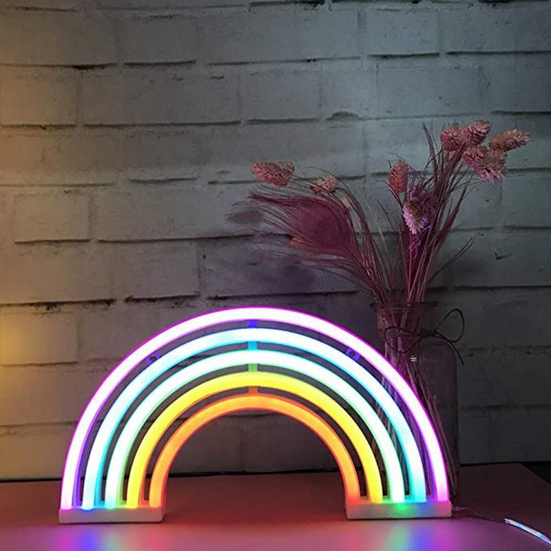 Cute Rainbow Neon Light Signs LED Rainbow Decor Light for Girls Bedroom  Neon Lamp Wall Decor Christmas Gift Party Neon Bulb Tube