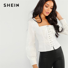 bd5000ed9a SHEIN Vintage White Grommet Lace-Up Front Square Neck Top Crop Solid Blouse  Women Spring Bishop Sleeve Slim Fit Elegant Blouses