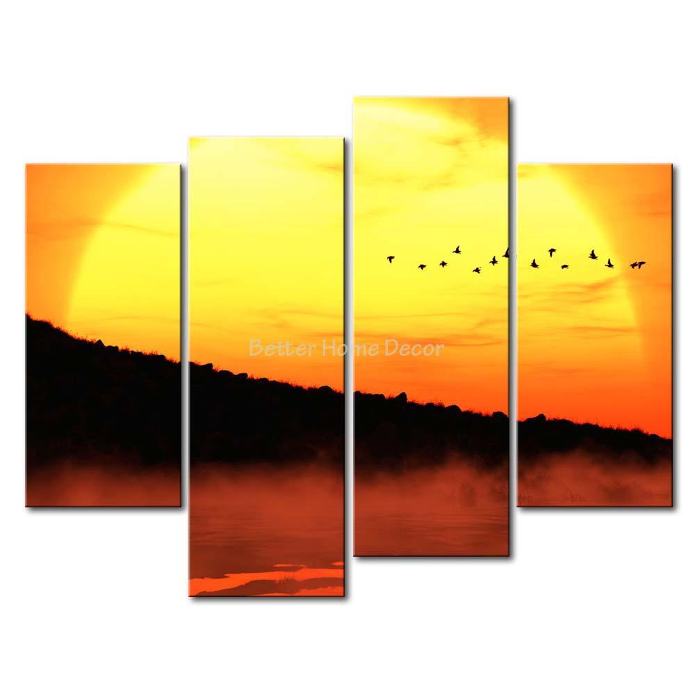 3 Piece Yellow Orange Wall Art Painting Sunset River Mountain Wild ...