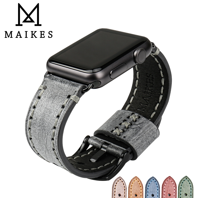 MAIKES New design fashion black leather watchband watch accessories for apple watch strap 38mm iwatch apple