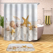 Waterproof Shower Curtain Beach Shell Sea Bath Curtains For Bathroom Bathtub Bathing Cover Extra Large Wide With 12pcs Hooks
