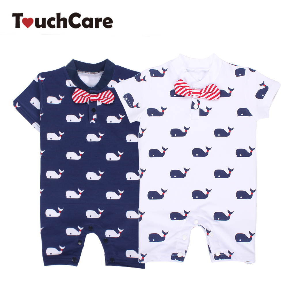 Cute Cartoon Animal Whale Printed Baby Boy Girl Rompers Infant Bow-knot Short Sleeve Kids Clothes Soft Cotton Toddler Jumpsuit fashion baby clothes cartoon baby boy girl rompers cotton animal and fruit pattern infant jumpsuit hat set newborn baby costumes