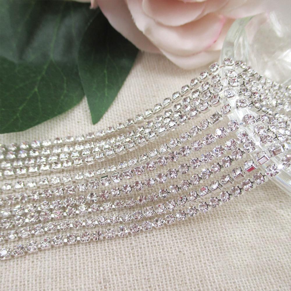 10yards 2mm Rhinestone Glass Silver Close Cup Chain Claw Chain Trimming Diamante