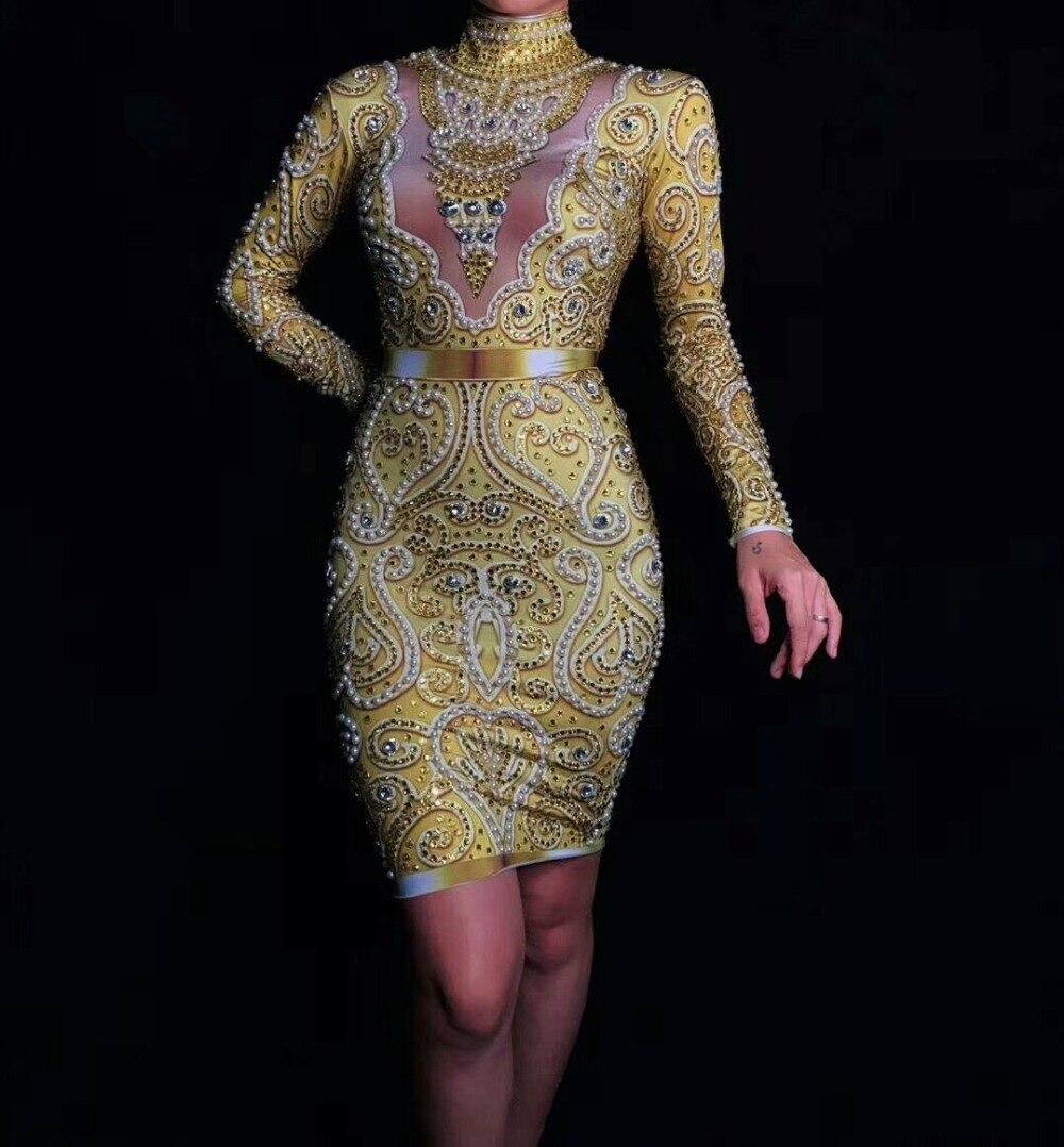 Delle donne di Nuovo Modo Brillante di Strass Perle Sexy Del Vestito A Maniche Lunghe Oro Del Vestito Femminile Cantante Celebrare Abiti Da Sera di Usura - 3