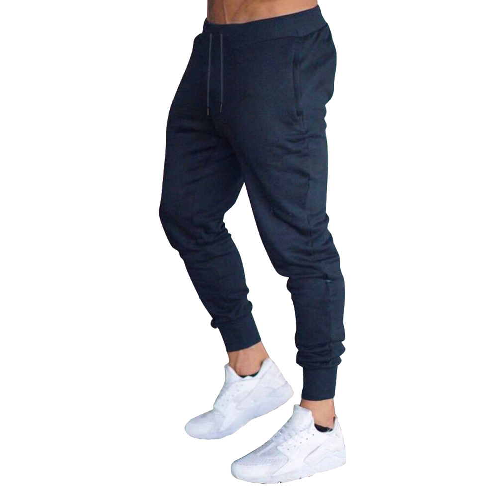 New Hot Men Slim Fit Solid Color Pants Trousers Drawstring Casual For Jogging Sport YAA99