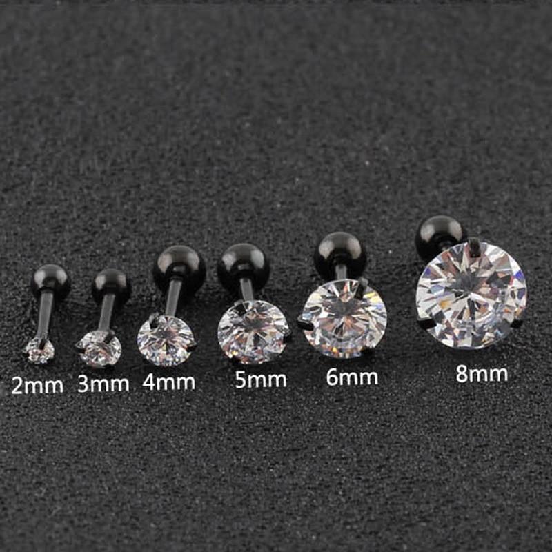 Surgical Steel Earrings Round Cubic Zirconia Ear Studs Small Stainless Steel Cartilage Earring for Women Girls Stud Earrings