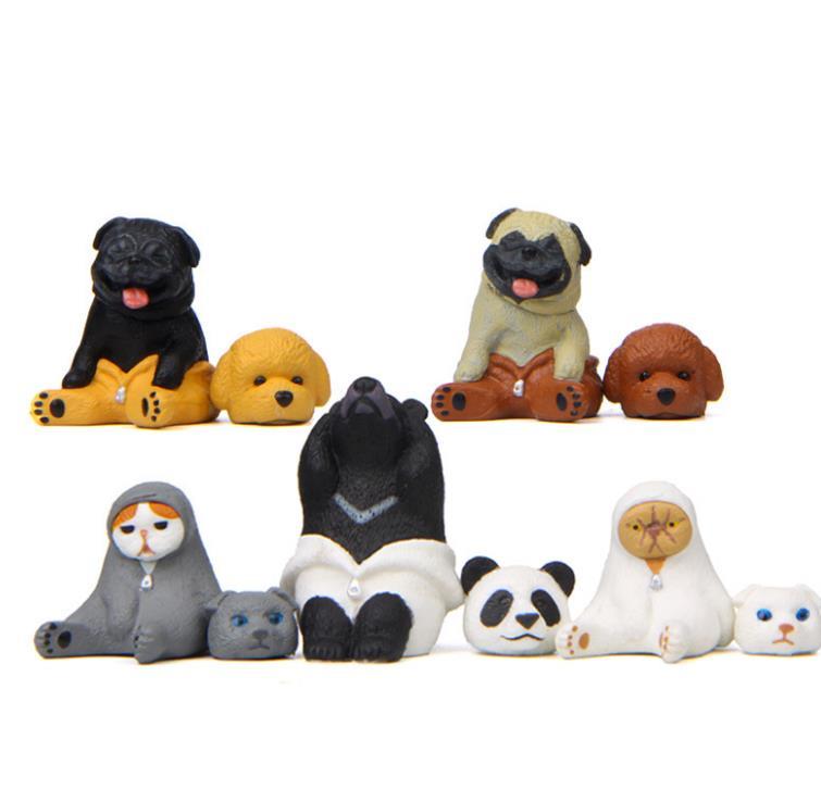 1 Pc Creative Animal Action Figure Toy Panda Bear cat dog Model Doll Ornament Micro landscape doll gift-1