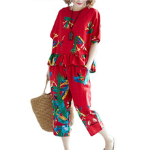 Women Fashion Motion Suit Summer New cotton linen printed ru