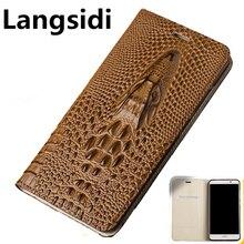 Pour OPPO Reno Langsidi étui pour téléphone daffaires en cuir véritable pour OPPO RX17 Neo OPPO RX17 Pro Realme 3 Pro Realme x Coque à rabat