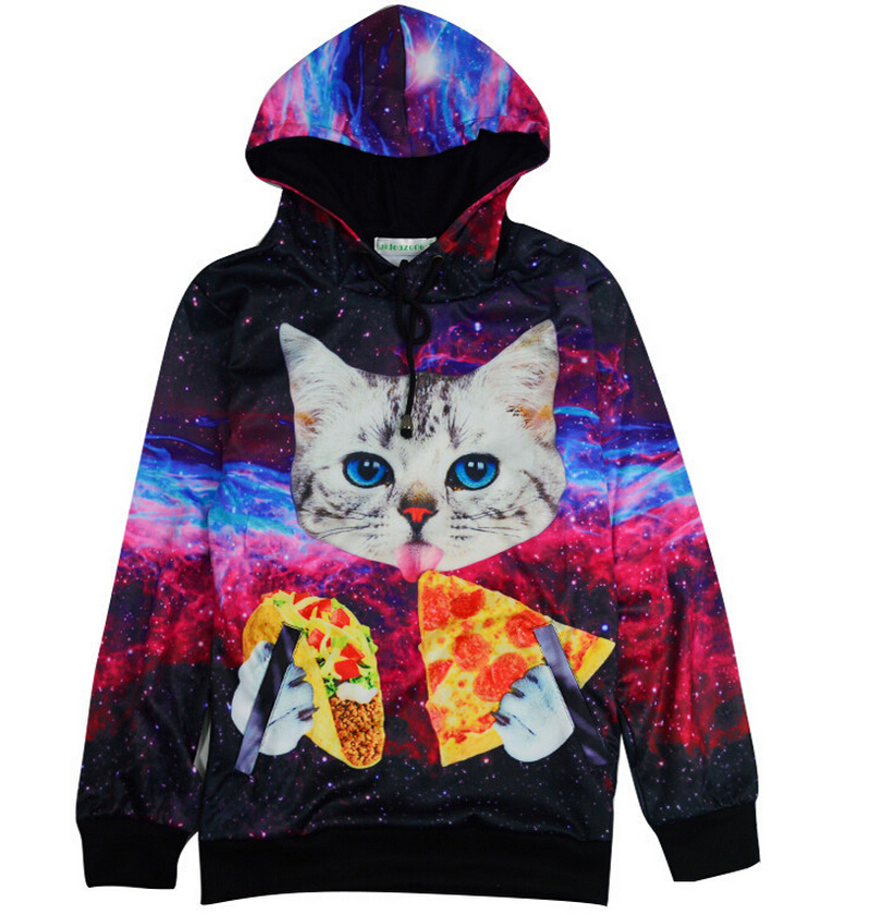 New women men harajuku 3d hoodies space galaxy cat pullover pizza ...