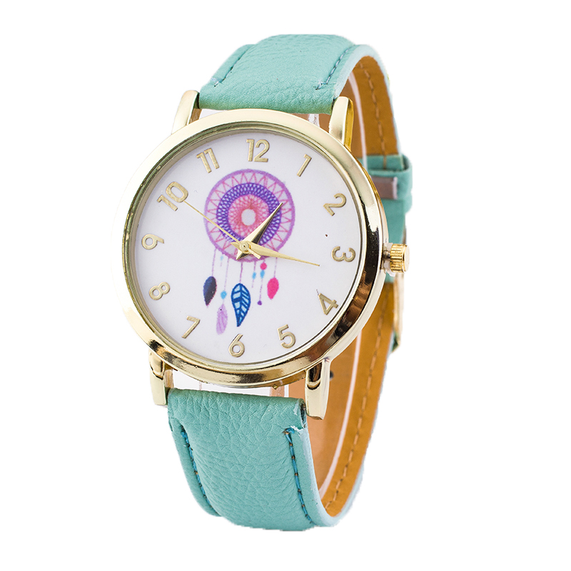 New 2016 ladies fashion watches women dress watch quarzt dream catcher relojes mujer PU leather casual watch clock hours Relogio