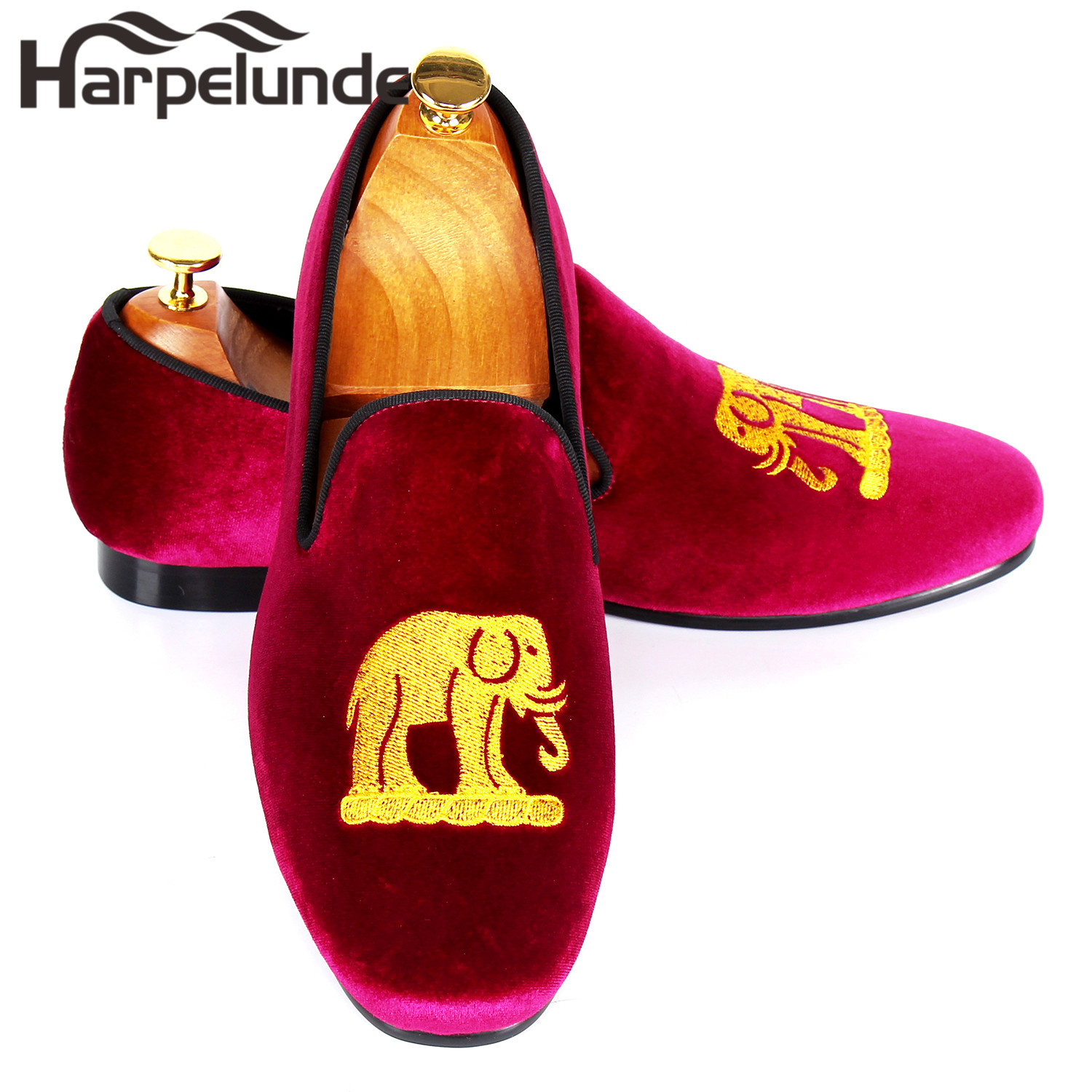32164b7f48f32 Harpelunde Velvet Loafers Mens Flats Emrbroidery Casual Shoes Custom Smoking  Slippers Size 7-12